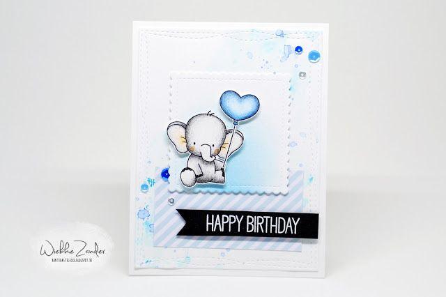 Bunte Bastelecke: Babyblue Elephant Birthdaycard