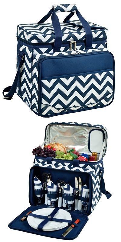 Blue Chevron Pattern Picnic Cooler for Four