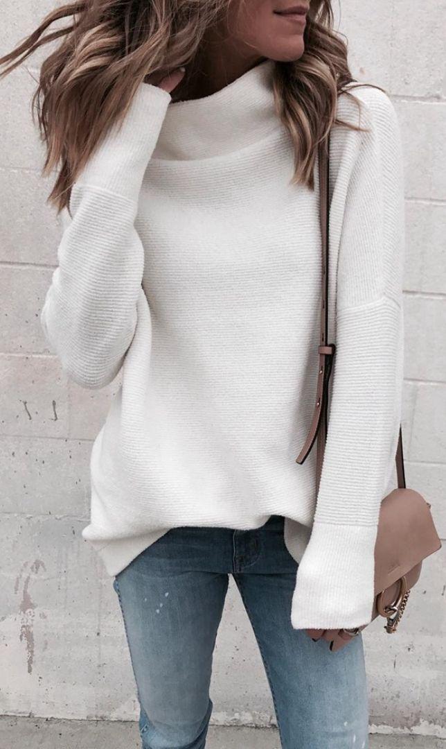 White Turtleneck Knit Sweater