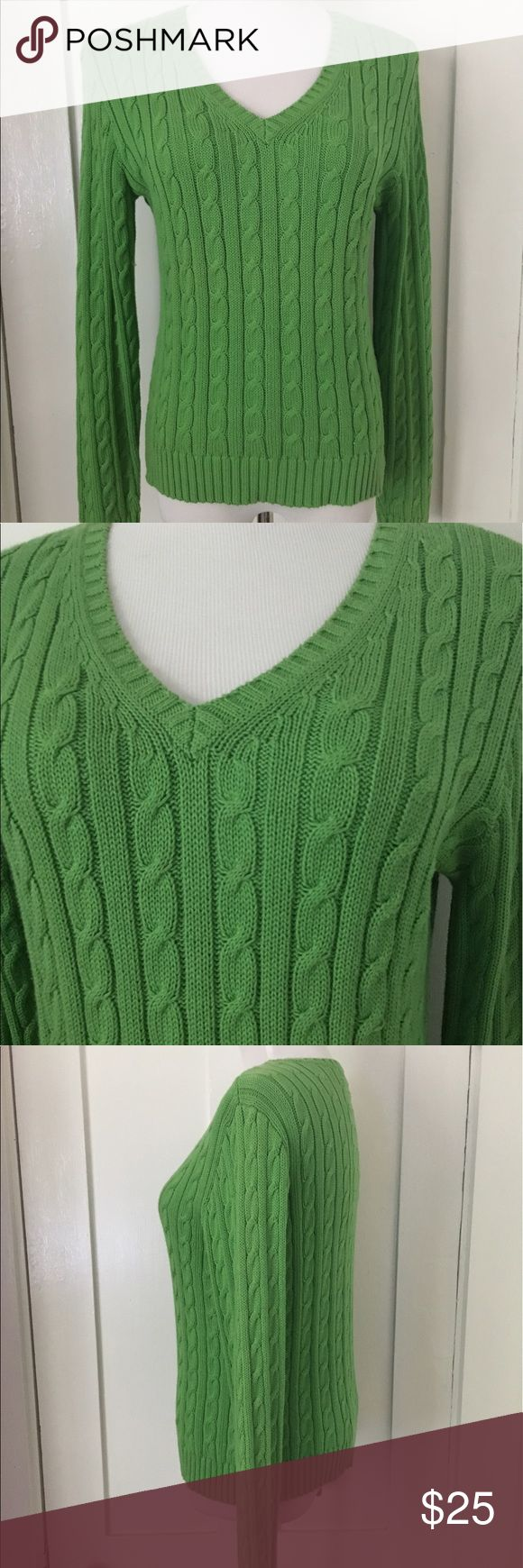 Preppy Kelly Green Fitted Cable Knit Cotton Vneck Medium. Great weighty soft cotton. Very Classic and not Oversized so flattering on. Some minor wear in armpits. See pics. Pink Sweaters V-Necks