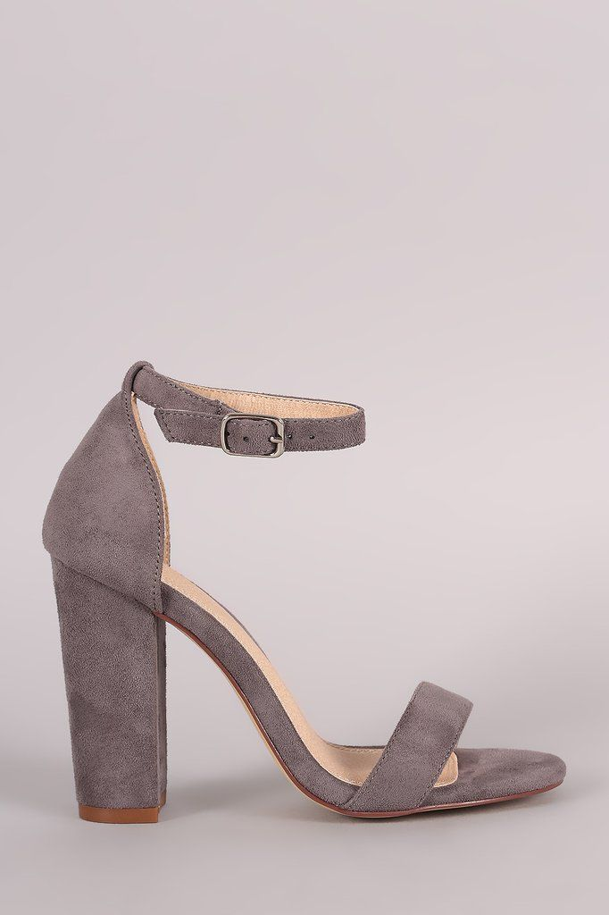 Suede Open Toe Ankle Strap Chunky Heel – Style Lavish