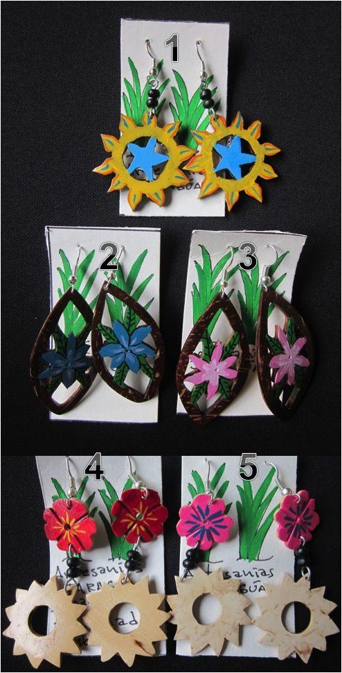 Accessories : Tear Drop Shaped Dyed Coconut Earrings