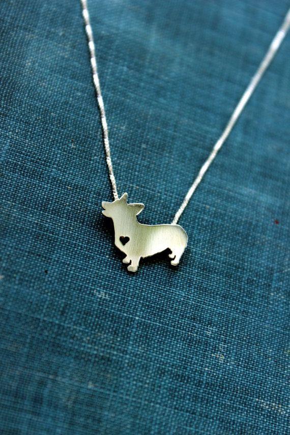 Pembroke corgi necklace sterling silver hand by justplainsimple