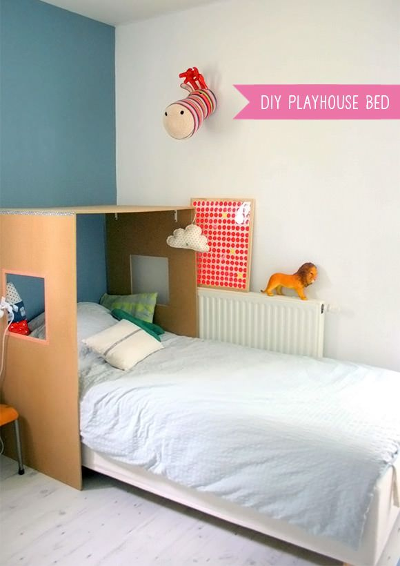 DIY Cardboard Playhouse Bed for Kids