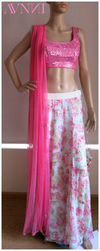 mirrorwork blouse with floral lehenga by avnni kapur