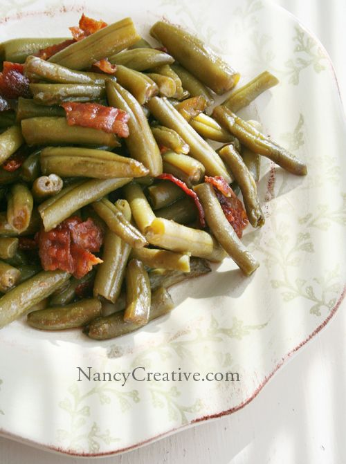 Arkansas Green Beans - green beans, bacon, brown sugar, butter, soy sauce,and garlic powder