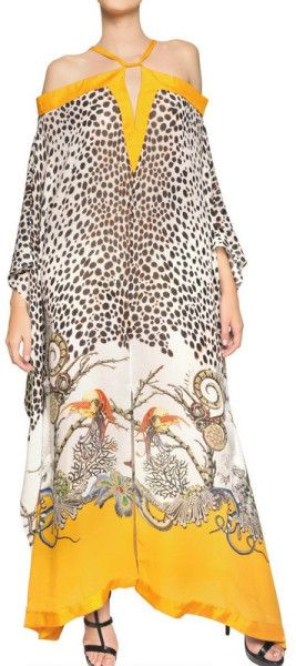 Roberto Cavalli Multicolor Printed Silk Georgette Long Kaftan Dress