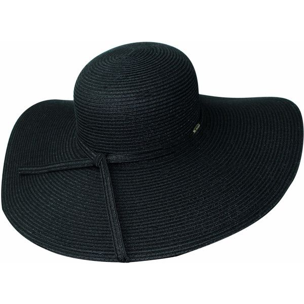 Black Wide Brim Floppy Hat ($35) ❤ liked on Polyvore featuring accessories, hats, black, floppy, summer beach hats, crown hat, floppy hats, summer hats and summer floppy hat
