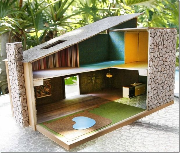 Kool Kitsch For Sale on eBay, Hand Crafted Mid-Mod Dollhouse..