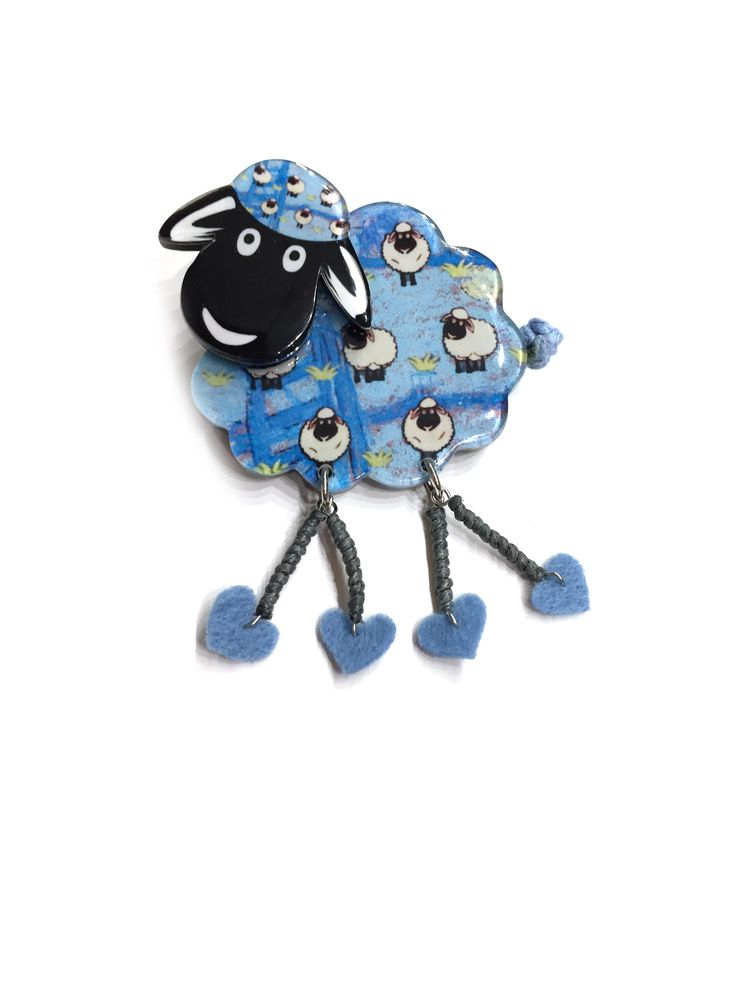 One Button Brooch - Resin sheep brooch with dangle legs #blue #springsummer #brooch #accessories #onebutton  Click to see more products from the One Button shop.