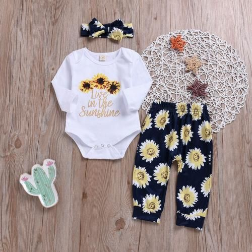 3Pcs Newborn Baby Girl Sunflower Top + Floral Pants + Hairband 3Pcs Newborn Baby Girl Sunflower Top + Floral Pants + Hairband – Lana ❤️