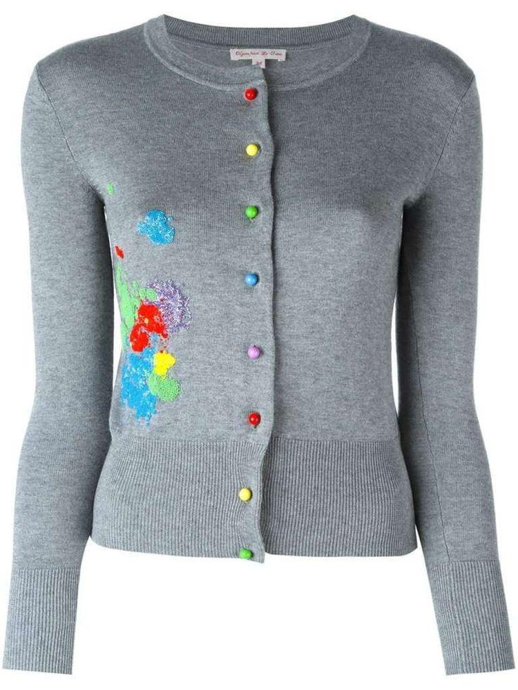 CARDIGAN OLYMPIA LE-TAN Cardigan grigio con bottoni e ricami colorati per l'inverno 2017