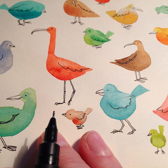 I painted and drew some imaginary birds today. #illustratoriniceland #watercolor…