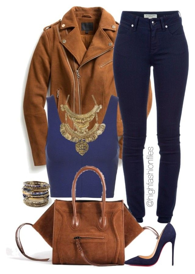 """Navy X Camel"" by highfashionfiles ❤ liked on Polyvore featuring moda, Exclusive for Intermix, Burberry, Topshop, Christian Louboutin, GOLDBARR e Amrita Singh"