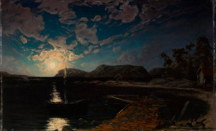 Fanny Churberg (1845-1892) Kuutamomaisema / Moonlight landscape 1878 - Finland