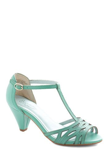 Everybody Dance Heel in Aqua by Seychelles - Solid, Daytime Party, Vintage Inspired, 40s, Mid, Better, T-Strap, Leather, Blue, Bridesmaid, P...