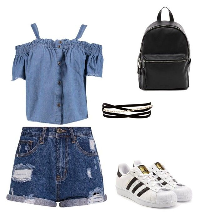 """Untitled #221"" by rekac on Polyvore featuring Boohoo, adidas Originals, French Connection and Kenneth Jay Lane"