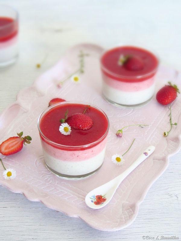 Panna cotta with vanilla yogurt and strawberry mousse