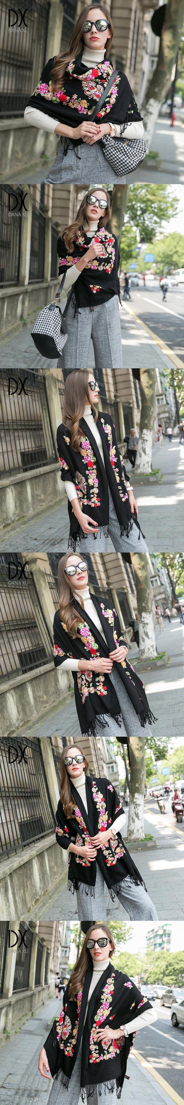 2017 New Women Winter Cashmere Pashmina Shawls Fashion Boho Style Plaid Thick Warm Blanket Poncho Large Size 200*65cm Bandana