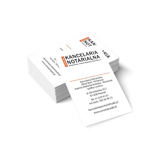 Oryginalne wizytówki firmowe dla kancelarii notarialnej Kancelaria Notarialna Alicja Breś - Notariusz Joanna Matecka - Kotecka - Notariusz. #wizytówki #kancelaria #Poznań #Warszawa #CreativeBusinessCards