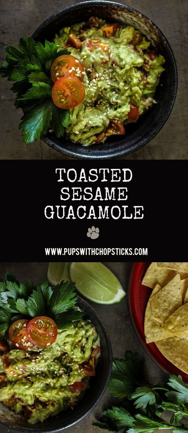 A creamy, nutty and buttery guacamole made with toasted sesame seeds that goes fantastic as a dip with veggies or chips or on sandwiches or tacos!