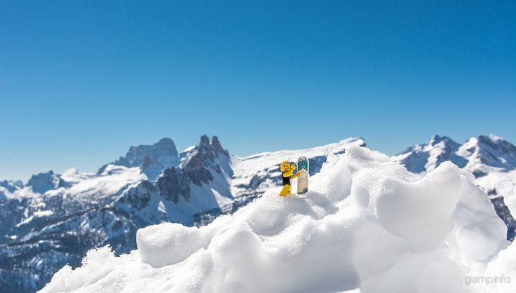 Jack from Cortina! www.giamp.info #lego #legoondolomites #dolomites #dolomiti #snowboard #snow #rider #cortina  #sunny #blue #sky #ski #dolomitisuperski #dolomitistars #instagood #instasnow #instalego