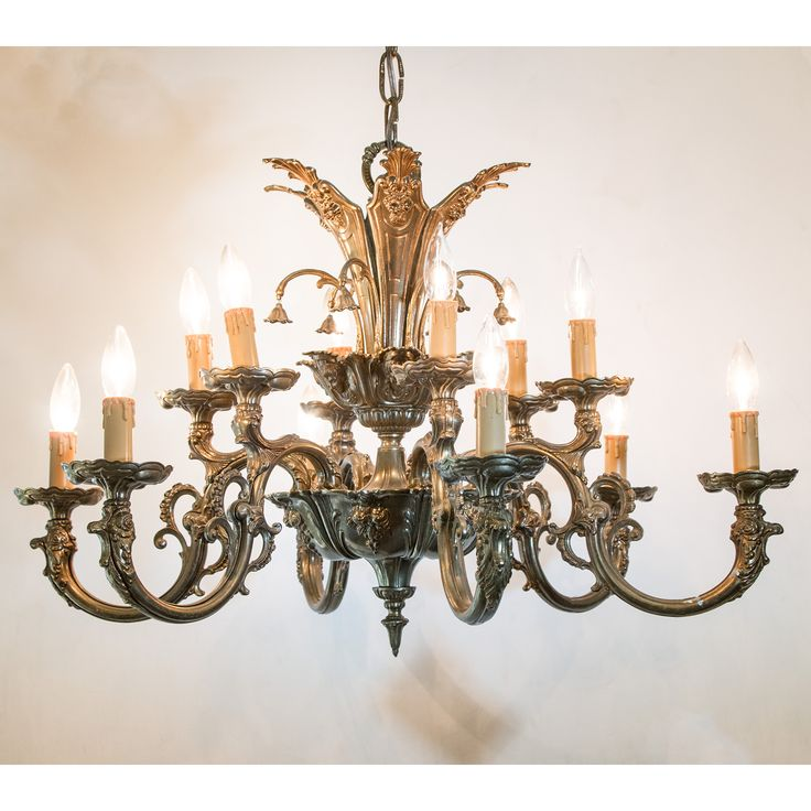 Vintage Mid Century Ornate Tiered 12 Light Brass Chandelier With Faces