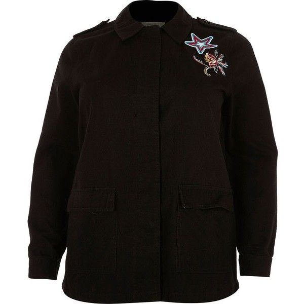 River Island Plus black embroidered badge utility jacket (725 MXN) ❤ liked on Polyvore featuring outerwear, jackets, black, coats / jackets, women, river island, river island jackets, embroidery jackets, woven jacket and embroidered jacket