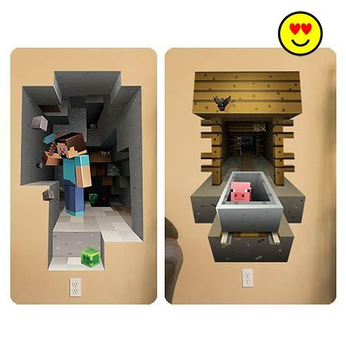 #MINECRAFT Officially licensed MOJANG Minecraft Video Game 3D VINYL #WALL CLING GRAPHICS STEVE PIG MINING 2-PACK MOVABLE REUSABLE Enter the world of Minecraft, on...
