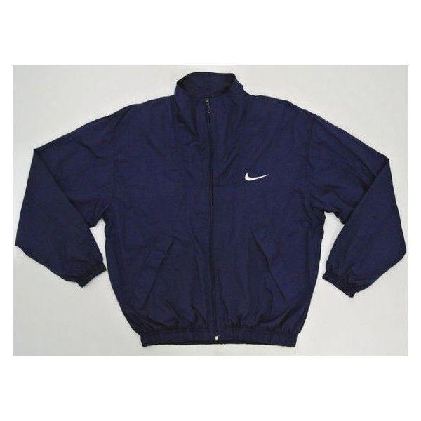 Nike Windbreaker Men Small Medium Vintage 90s Nike Jacket Navy Blue... ❤ liked on Polyvore featuring men's fashion, men's clothing, nike mens apparel, mens clothing, men's apparel, nike mens clothing and old navy mens clothing