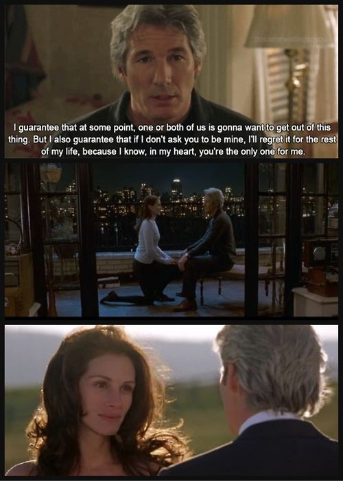 The speech from Runaway Bride....if only it was such easy words to say..