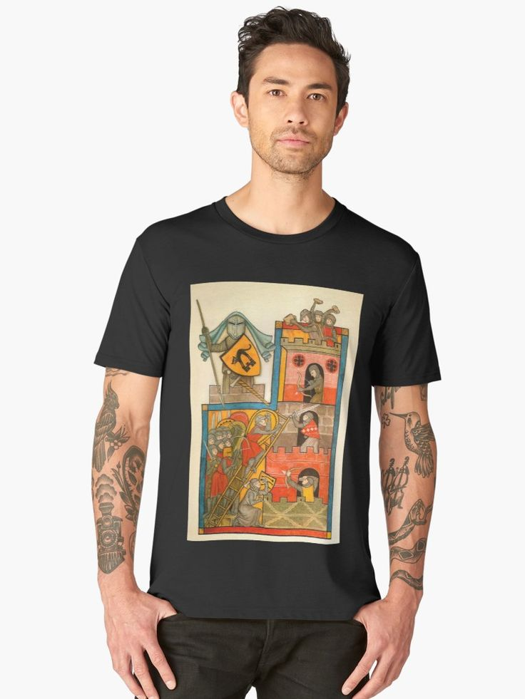Original artwork circa 1800s of Castle Battle scene. Beautiful graphic tee design. Get yours today. • Also buy this artwork on apparel, stickers, phone cases y more.