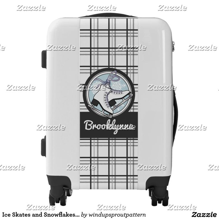 Ice Skates and Snowflakes Tartan Pattern Cute Luggage
