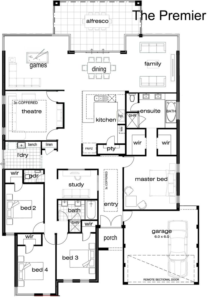 Single storey semi detached house layout plan