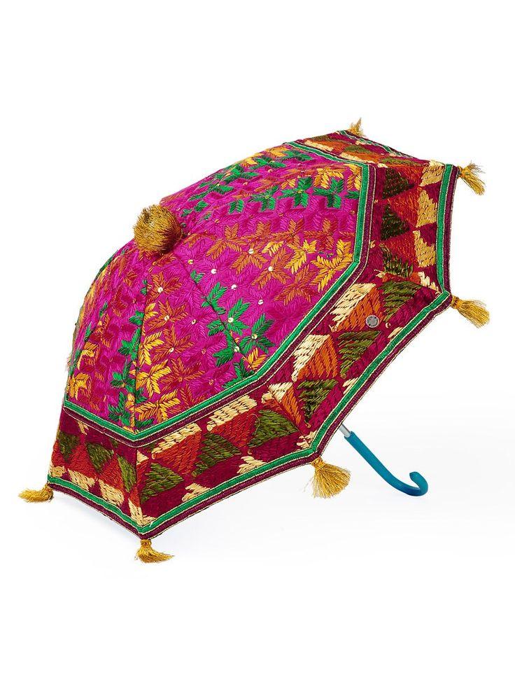 Buy Pink Multi Color Cotton Zari Tassles Phulkari Umbrella Online at Jaypore.com