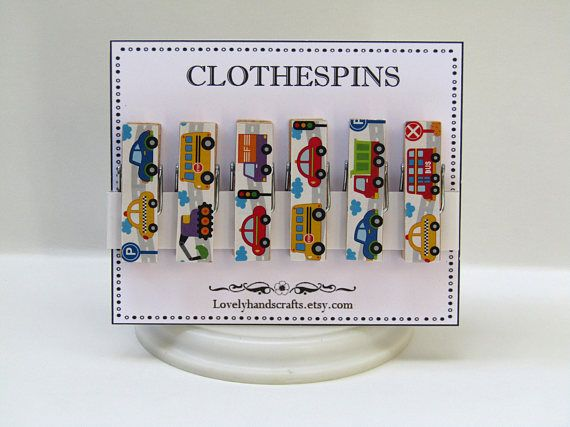 Cars Clothes Pins  Decorative Wooden Clothespins  Set of 6