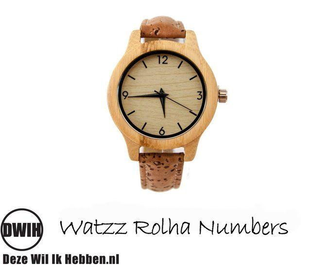 Houten horloge: WATZZ Rolha Numbers(WATZZ 08) | Gratis verzenden -…
