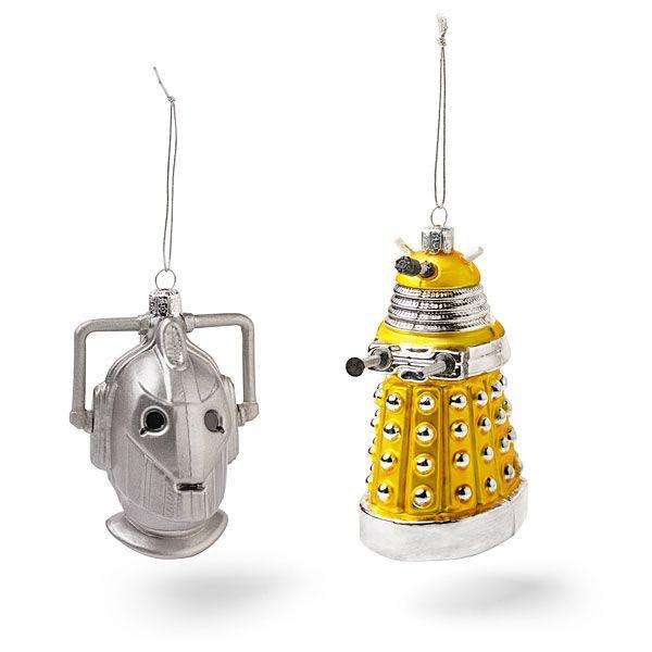 Doctor Who Cyberman and Yellow Dalek Christmas Ornaments via Global Geek News.