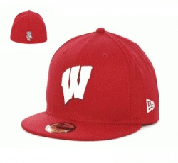 Wisconsin Badgers New Era 59FIFTY Basic Fitted Cap  $32.99    Made of 100% Wool, Woven  Fitted, Structured, High Crown, Normal Bill  Primary Design - Medium Raised Embroidery on Front Middle  Back Design - Flat Embroidery on Center: Basic Fit, Was 59Fifti, High Crowns, Bill Primary, Flats Embroidery, Front Middle, Colleges Cap, 59Fifti Basic, Fit Cap