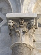 Capital of Corinthian form with anthropomorphised details, Pisa Campanile