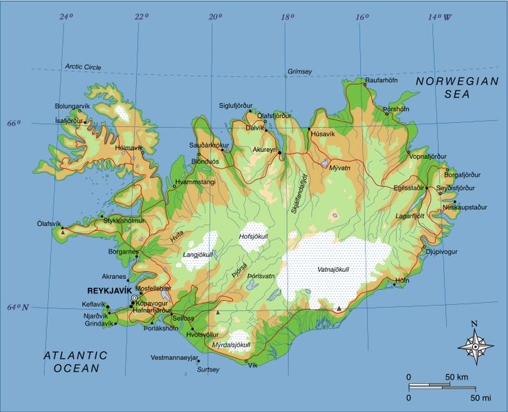 Map of Iceland showing major towns and geographical features