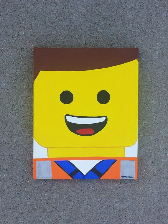 Emmett Lego Movie Painting By Vintagearthero On Etsy, Really Cute Thought  You Guys Might Like