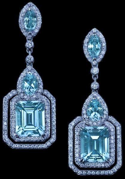 Parisian Deco Blue Topaz earrings by Robert Procop