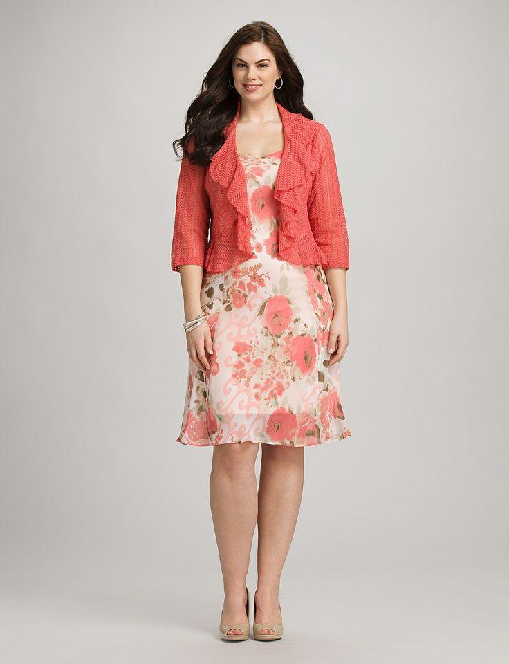 Plus Size Floral Sweetheart Jacket Dress $64.00