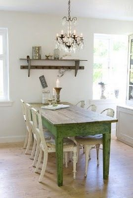 Shabby chic dining & chandelier
