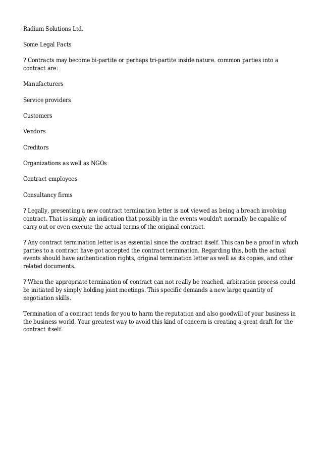 Contract Termination Letter - contract termination letter