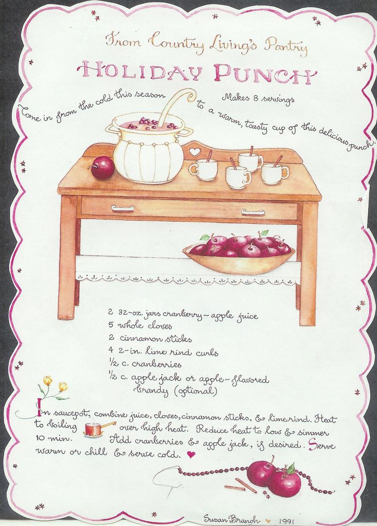 Holiday Punch, Susan Branch for Country Living Magazine