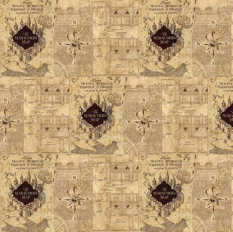 Marauders Map Harry Potter Fabric Crafty Crafts Map