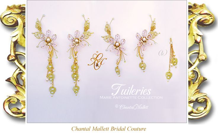 TUILERIES: Lilac & pink Swarovski crystal & seed bead hand made Orchid flowers with cream pearl centres & matching crystal & seed bead leaves. This matching pair of earrings grow up the curve of the ears. Turn them into shoulder dusters by clipping on the matching extenders. Hand made to order. Other colours available.