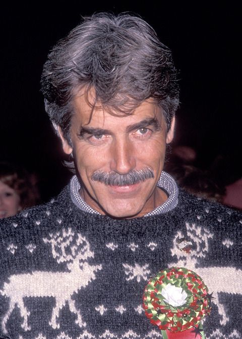 Even in that sweater he is cool. Sam Elliott, male actor, r.i.p., moustache, portrait, photo